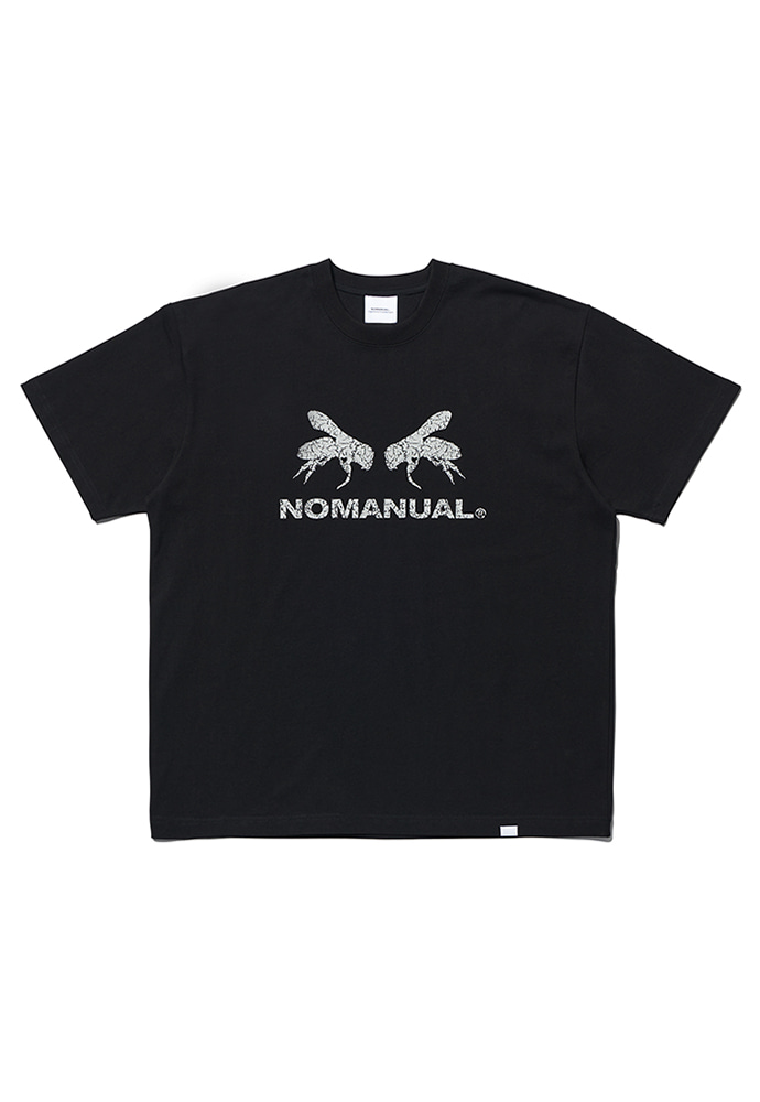 NOMANUAL노메뉴얼 WORKER BEE T-SHIRT - BLACK