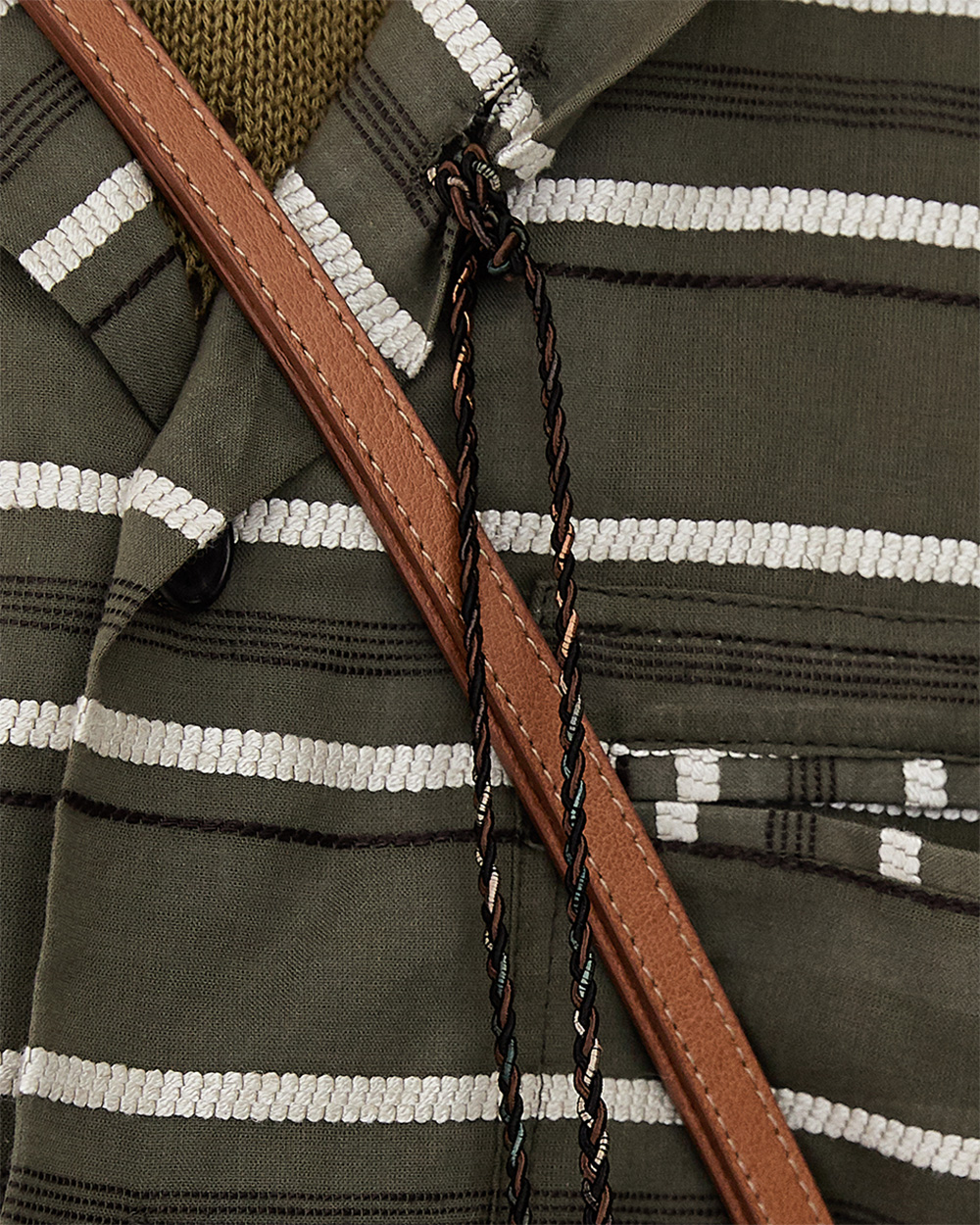 HALEINE알렌느 KHAKI 3D DETAIL STRIPE SHIRTS JACKET(BLJ009)