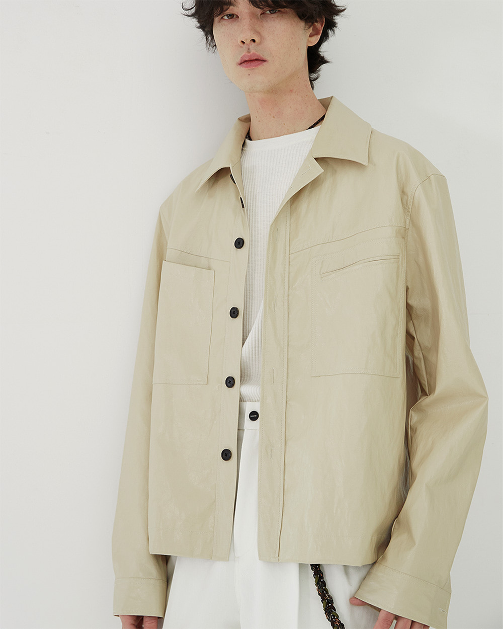 HALEINE알렌느 CREAM 3D detail eco leather shirts jacket(NJ002)