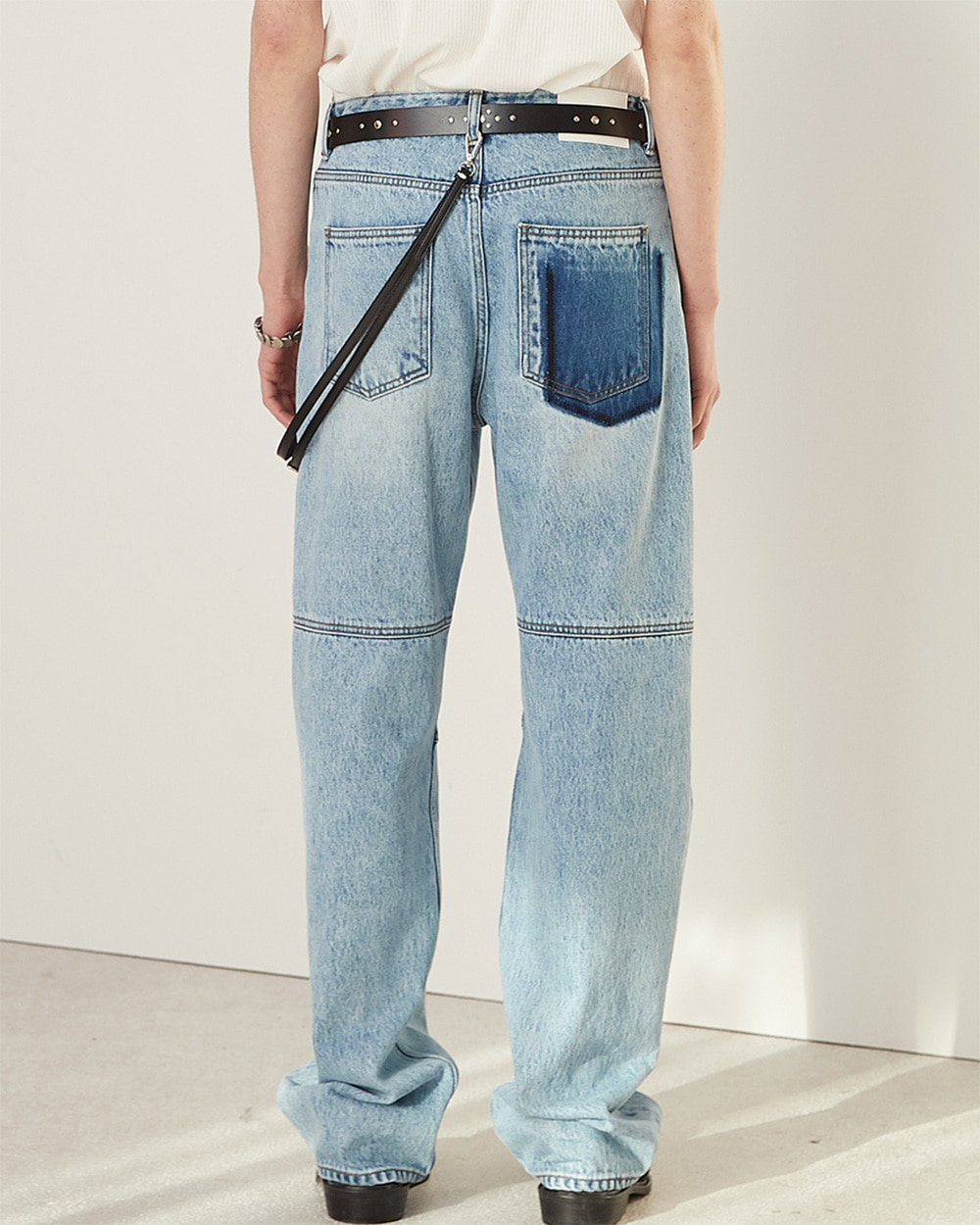 HALEINE알렌느 LIGHTBLUE semi wide stone washing jean(NB001)