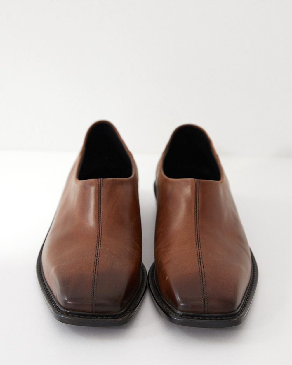 HALEINE알렌느 BROWN gradation leather square toe mule(NH001)