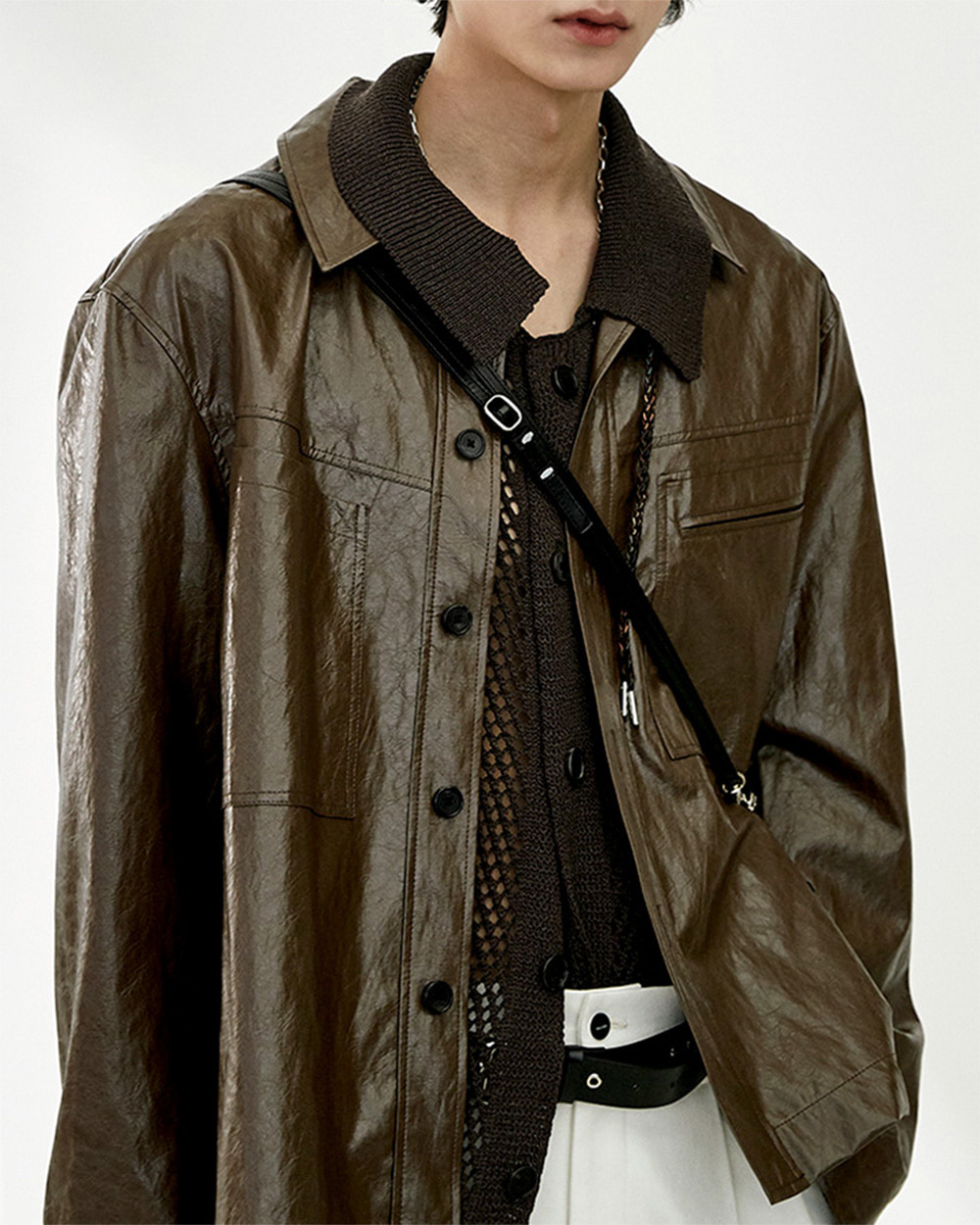 HALEINE알렌느 BROWN 3D detail eco leather shirts jacket(NJ003)