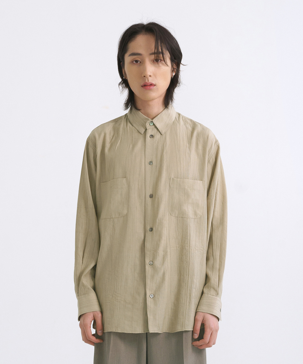 NOUN노운 wide wrinkle shirt (yellow khaki)