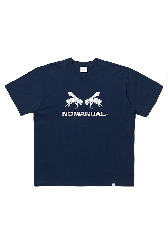 NOMANUAL노메뉴얼 WORKER BEE T-SHIRT - NAVY