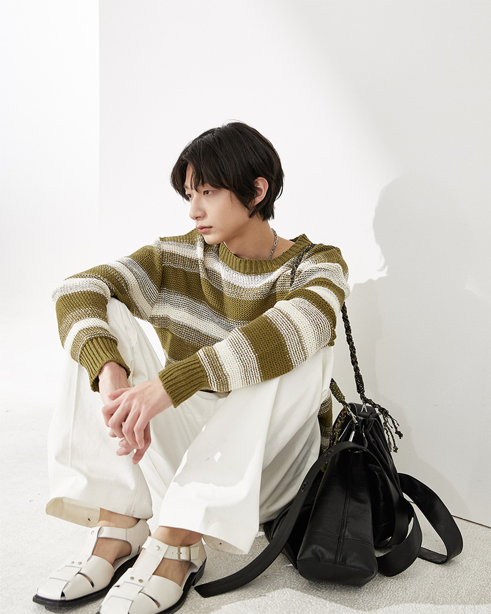 HALEINE알렌느 KHAKICREAM stripe mesh knit(NT032)