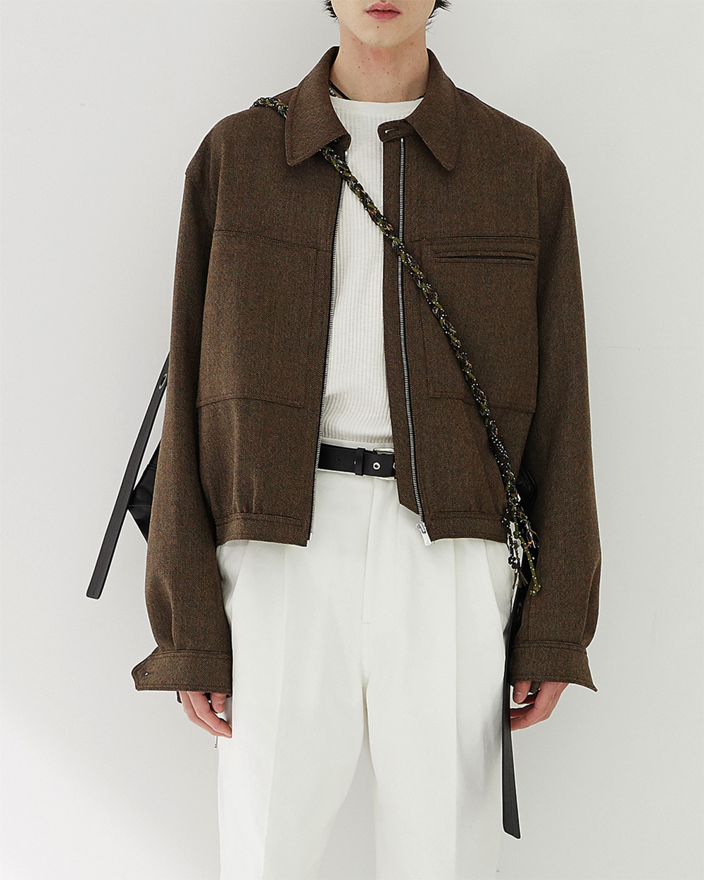 HALEINE알렌느 BROWN 3D detail wool short jacket(NJ006)