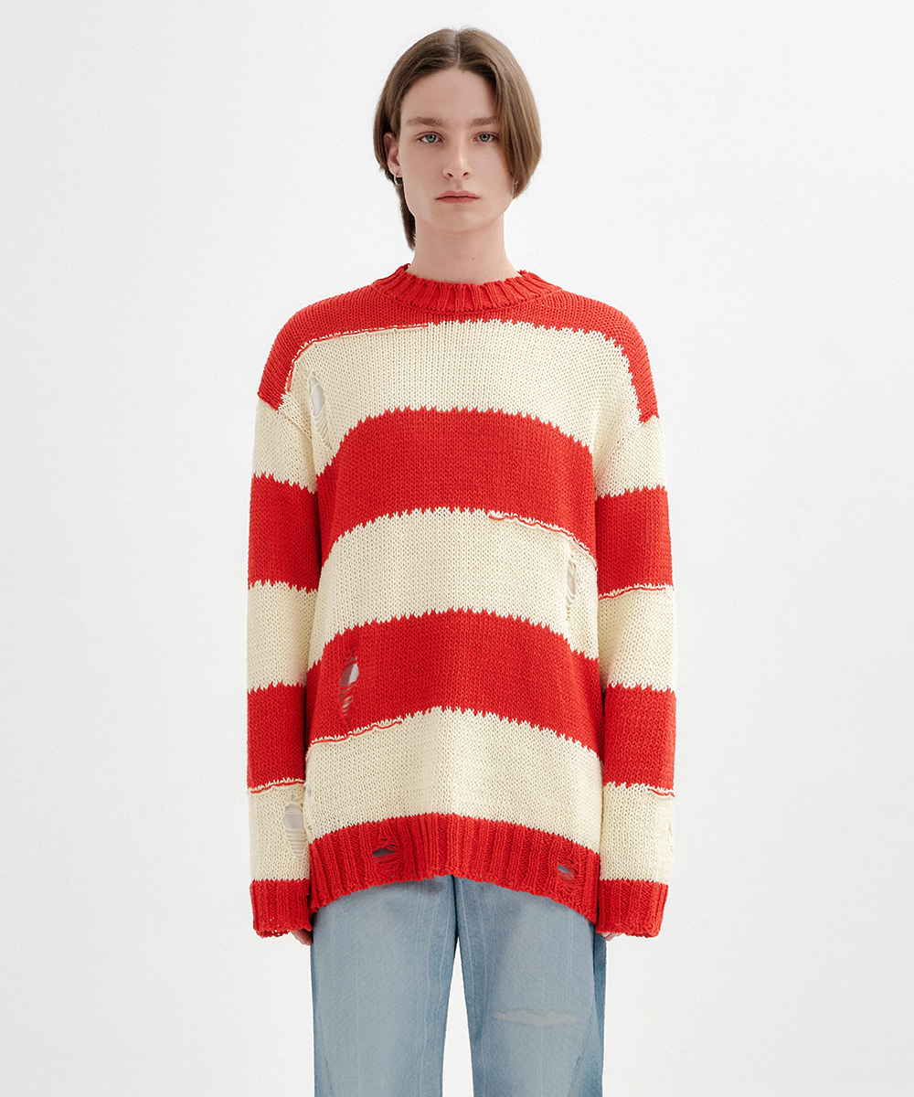 YUSE유즈 [UNISEX] VINTAGE CUT STRIPE KNIT TOP - RED