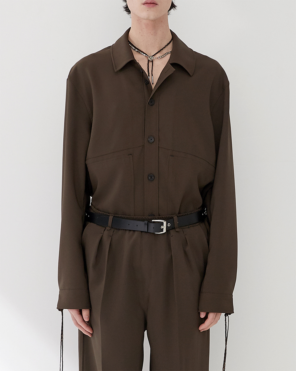 HALEINE알렌느 DARKBROWN 3D detail triacetate shirts jacket(NJ021)