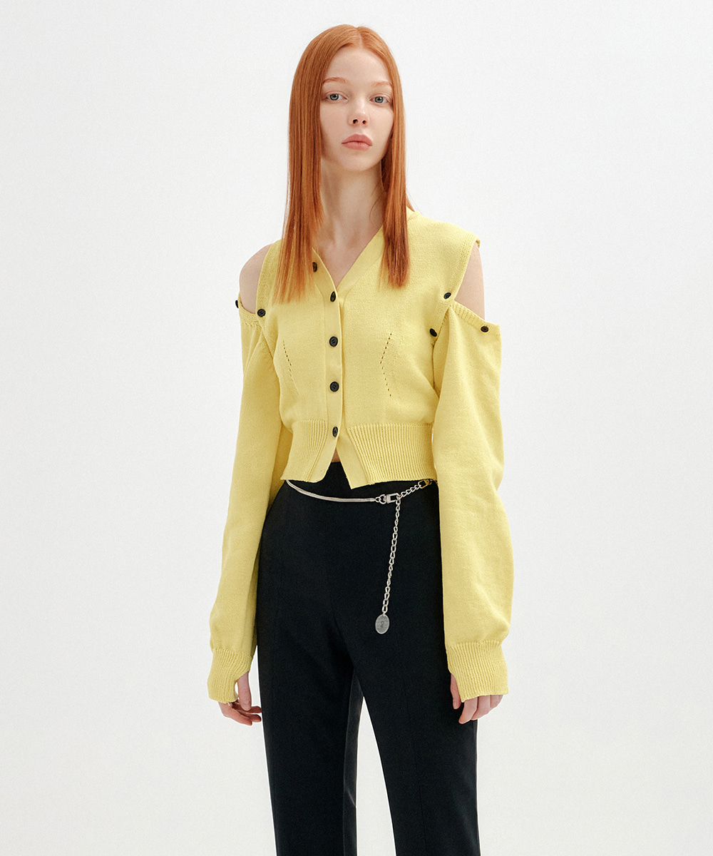 YUSE유즈 UNBALANCE SHOULDER CUT CROP KNIT CARDIGAN - LIGHT YELLOW