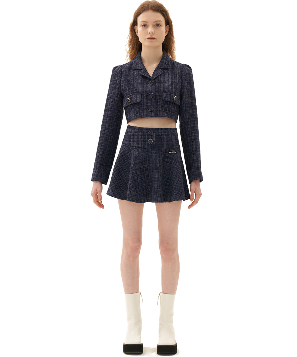 ODD ONE OUT오드 원 아웃 Shine tweed skirt_NAVY