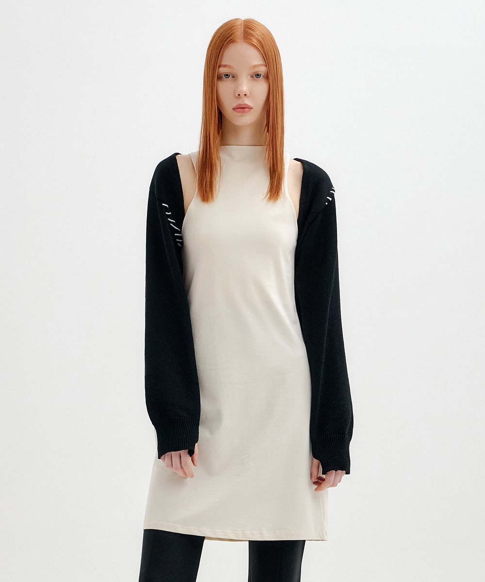 YUSE유즈 (4월/23일 예약배송) STITCH BOLERO KNIT TOP - BLACK