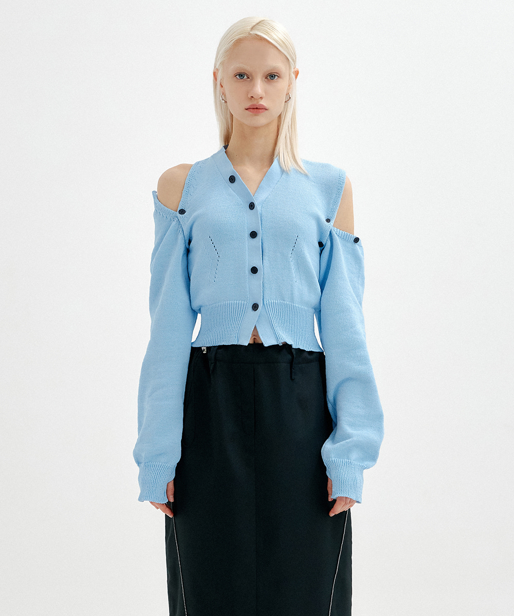 YUSE유즈 (4월/27일 예약배송) UNBALANCE SHOULDER CUT CROP KNIT CARDIGAN - SKY BLUE