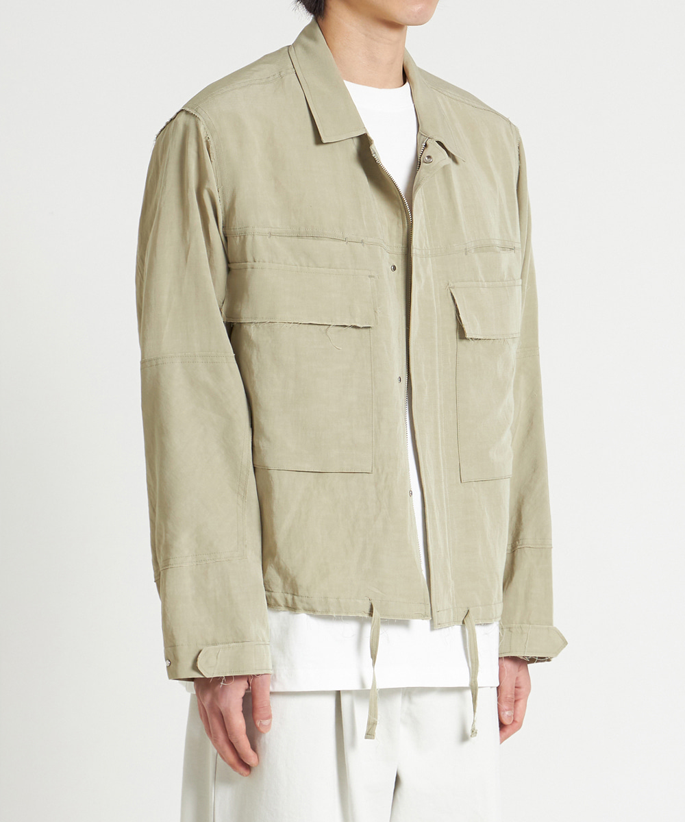 YOUTH유스랩 Cut-off Cropped Jacket Light Olive