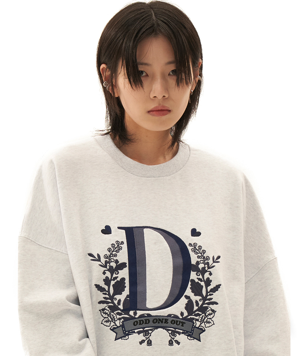 ODD ONE OUT오드 원 아웃 Emblem needlework sweatshirts_light gray