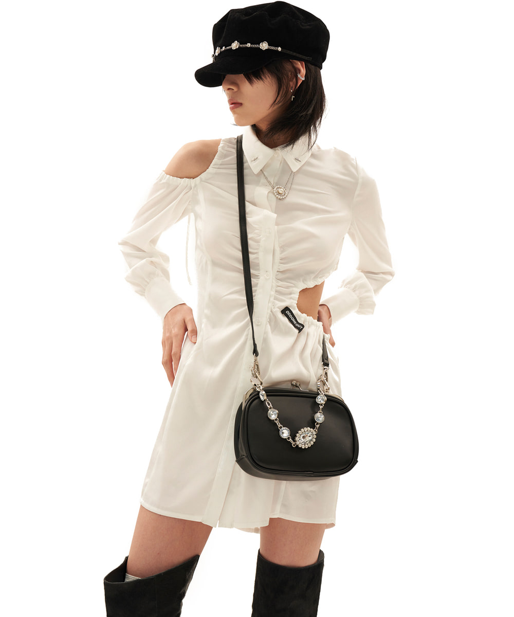 ODD ONE OUT오드 원 아웃 String blouse one-piece_WHITE