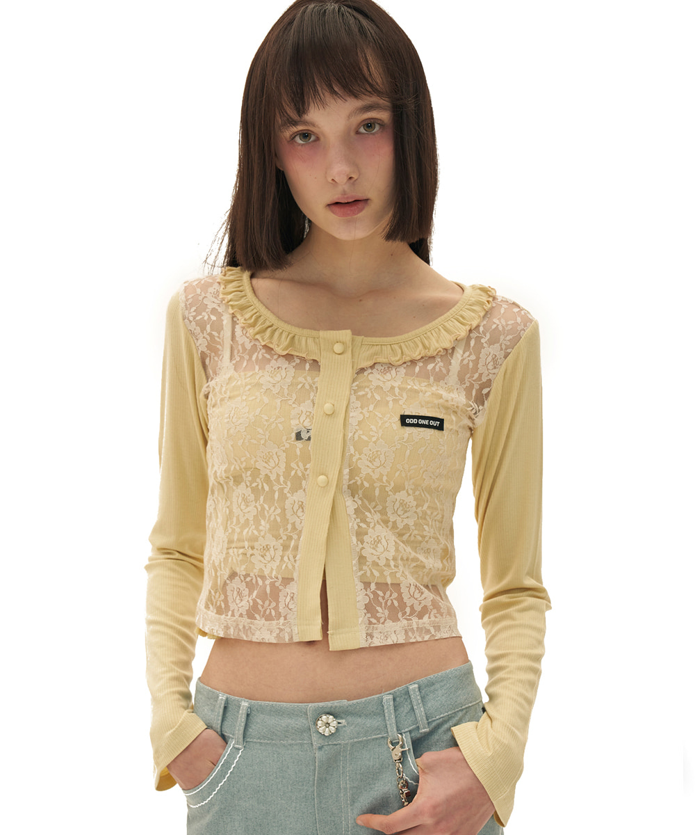 ODD ONE OUT오드 원 아웃 Flower frill lace cardigan_YELLOW