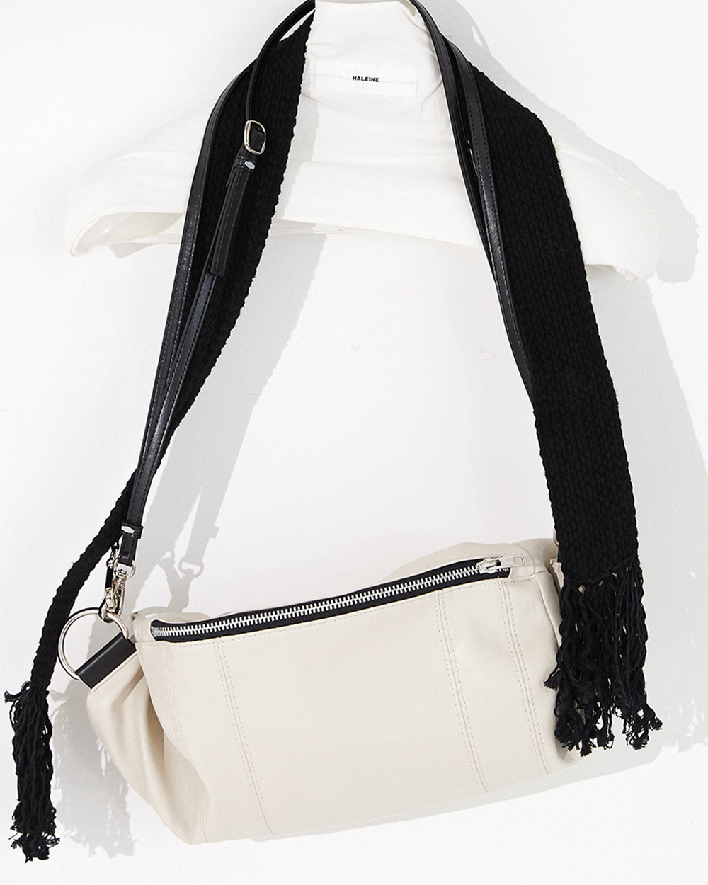 HALEINE알렌느 CREAM eco leather tassle cross bag(NA005)