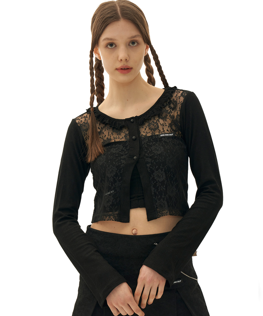 ODD ONE OUT오드 원 아웃 Flower frill lace cardigan_BLACK