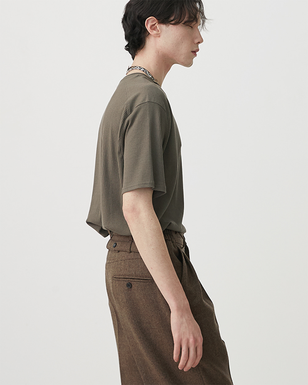 HALEINE알렌느 KHAKIBROWN backside half raglan 1/2 knit t-shirts(NT024)