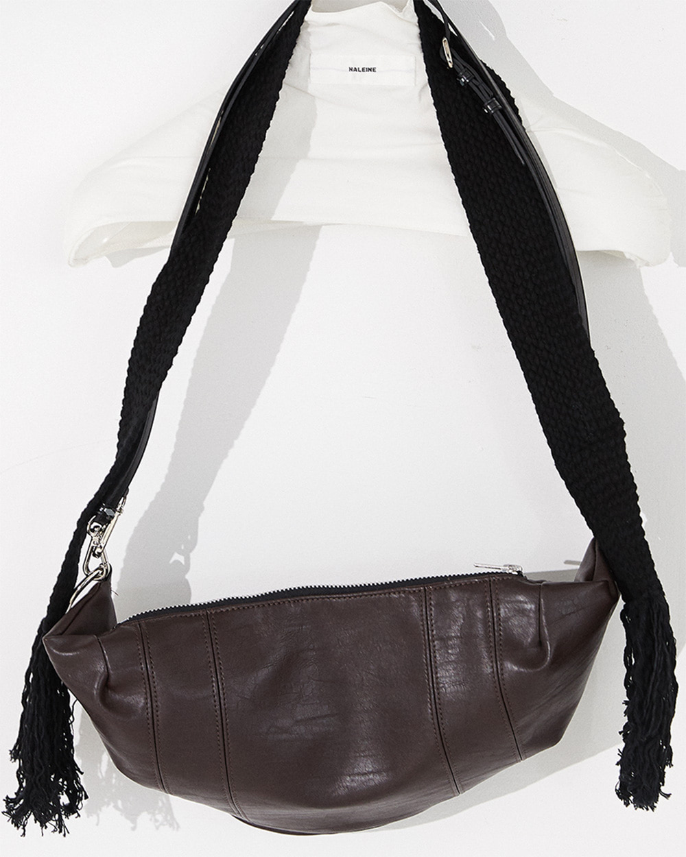 HALEINE알렌느 BROWN eco leather tassle cross bag(NA006)