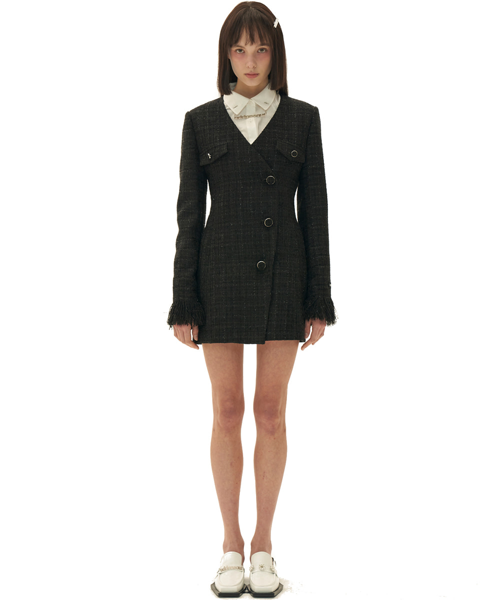 ODD ONE OUT오드 원 아웃 Tweed Jacket one-piece_BLACK