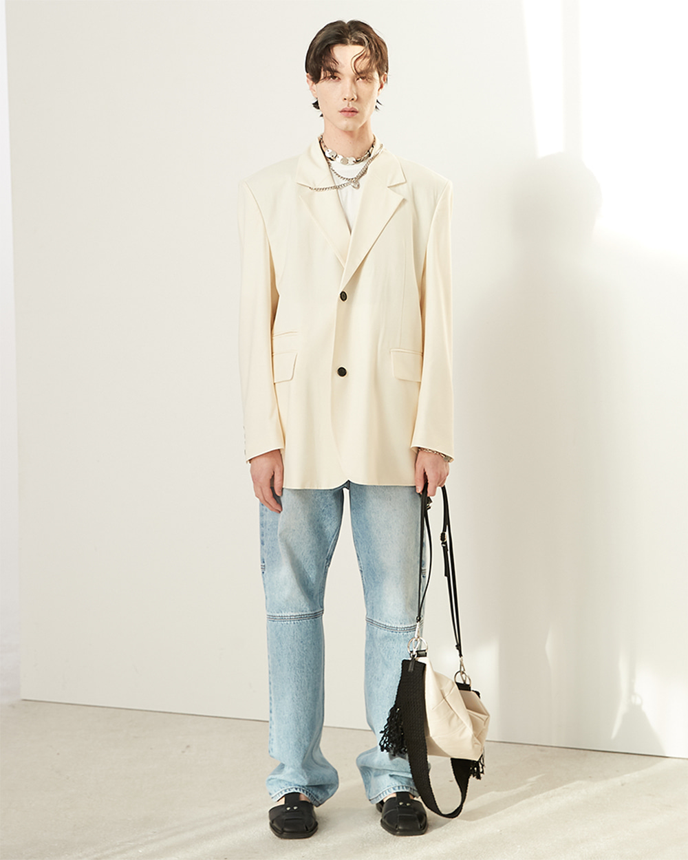 HALEINE알렌느 CREAM half double blazer(NJ034)**3/29배송**