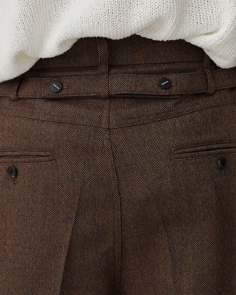 HALEINE알렌느 BROWN backside belt 3D detail tweed wool pants(NB003)**4/2일 배송**