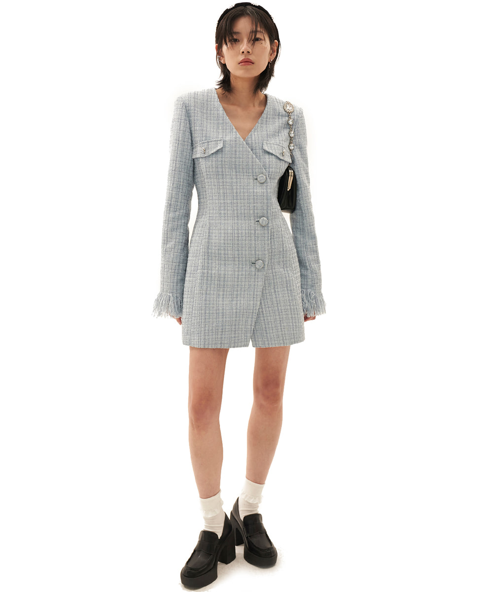 ODD ONE OUT오드 원 아웃 Tweed Jacket one-piece_SKY BLUE