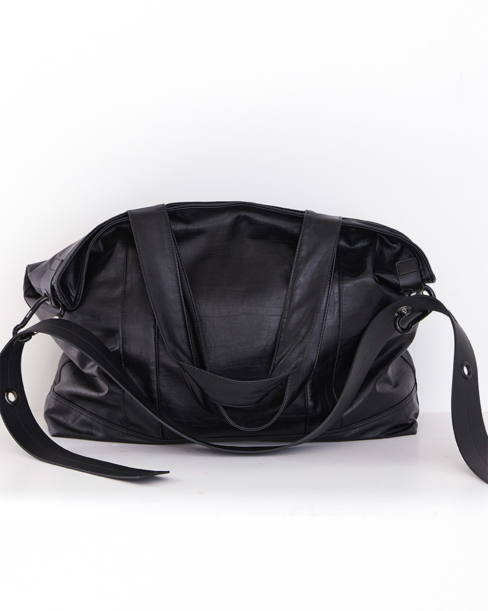 HALEINE알렌느 BLACK eco leather strap oversize tod&cross bag(NA003)