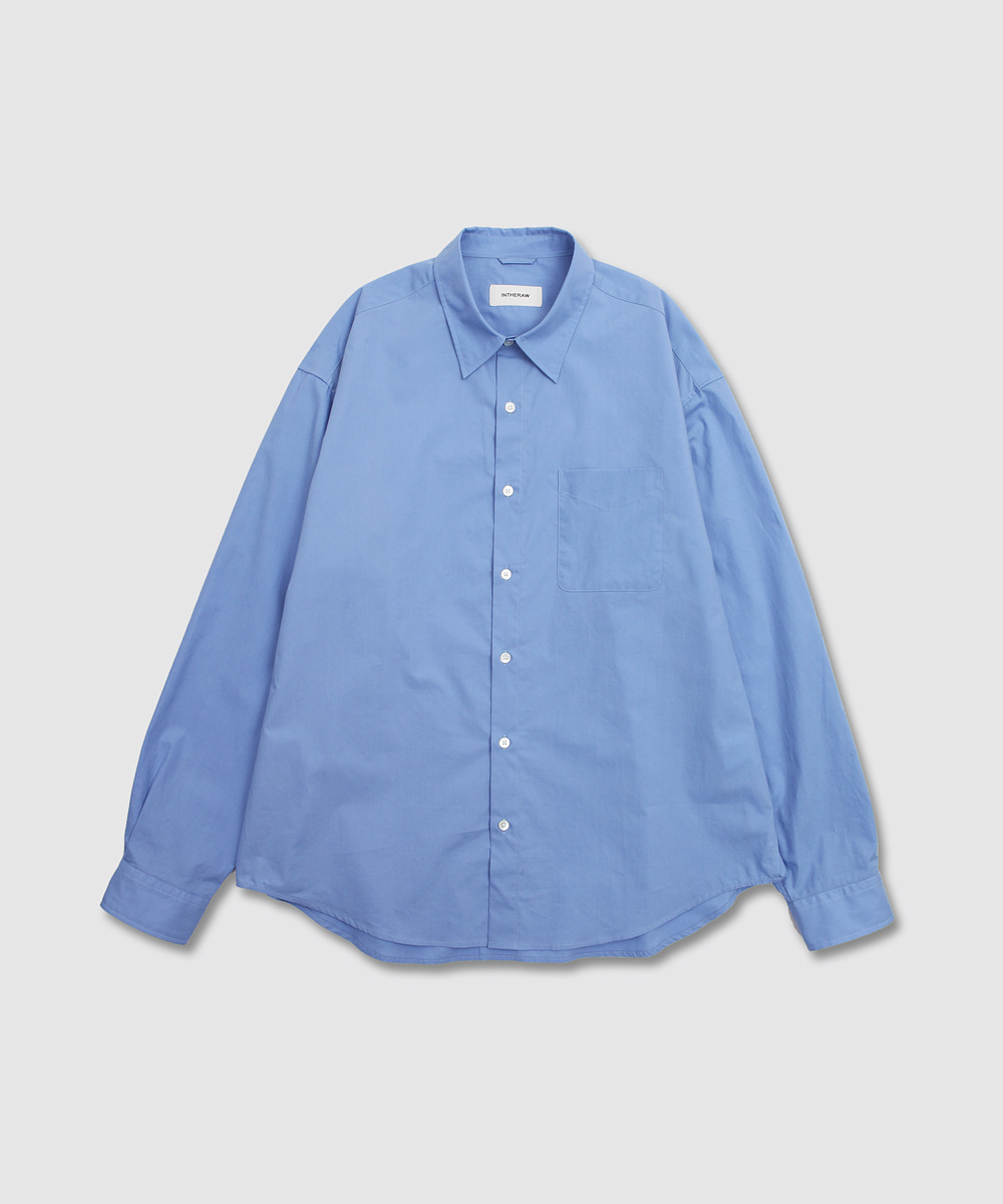 INTHERAW인더로우 COTTON PLAIN SHIRT - SAX