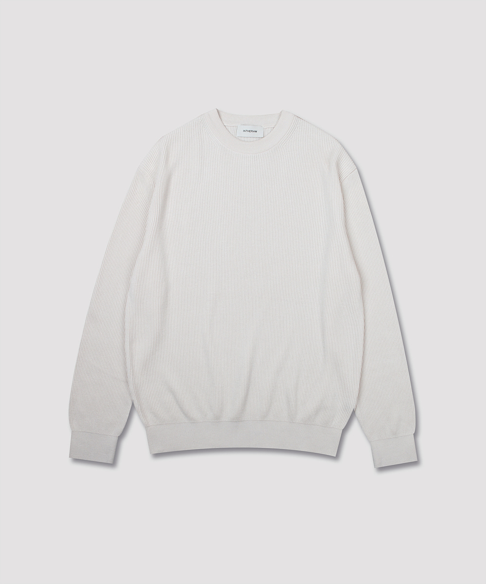 INTHERAW인더로우 COTTON SILK KNIT CREWNECK - ECRU