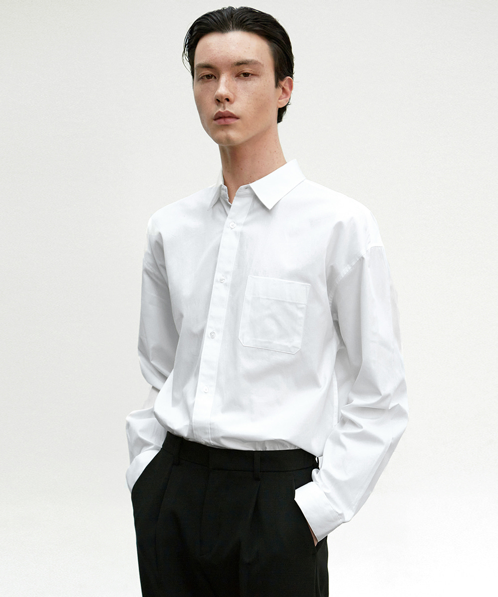 NICK&NICOLE닉앤니콜 SOLID COTTON SHIRT_WHITE