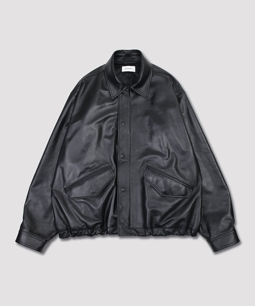 INTHERAW인더로우 LEATHER FIELD JACKET - BLACK