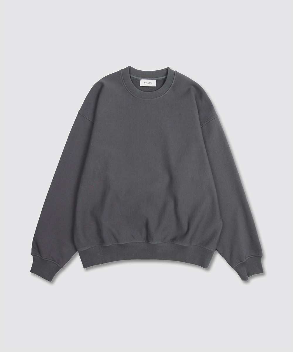 INTHERAW인더로우 ESSENTIAL SWEAT SHIRT - CHARCOAL