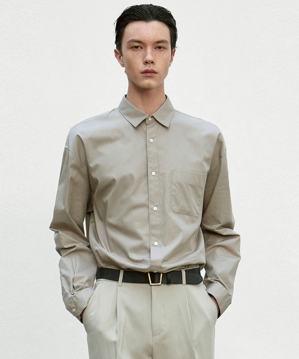 NICK&NICOLE닉앤니콜 SOLID COTTON SHIRT_KHAKI BROWN