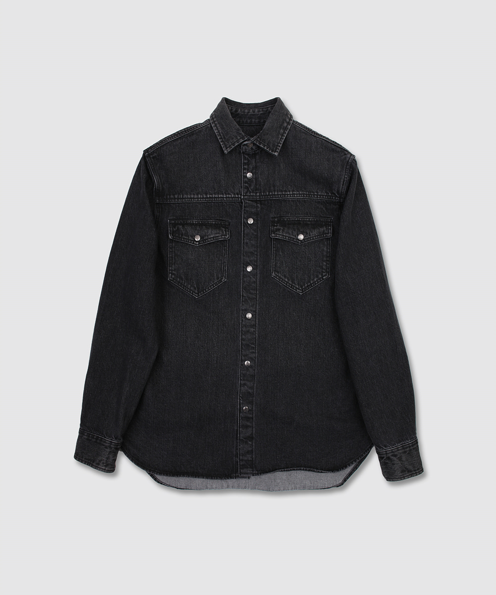 INTHERAW인더로우 DENIM OVERSHIRT - BLACK